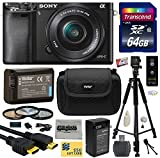 Sony Alpha a6000 24.3 MP Interchangeable Mirrorless Lens Camera with 16-50mm Power Zoom Lens (ILCE6000L/B) with Amateur Accessories Bundle Kit includes 64GB Class 10 SDHC Memory Card + Replacement (1200mAh) NP-FW50 Battery + Home Wall Charger with Car and