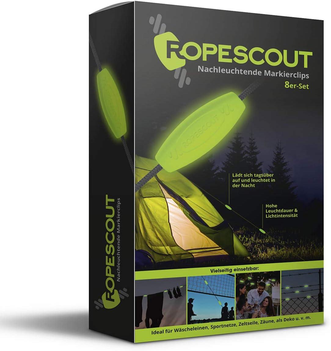 ROPESCOUT leuchtende Markierclips 48er Set F/ür Zeltspannseile | Made in Germany Volleyballnetze u.v.m hohe Leuchtkraft, lange Leuchtdauer