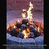 Myard Fireproof Human Fire Pit Skull Gas Log for NG, LP Wood Fireplace, Firepit, Campfire, Halloween Decor, BBQ