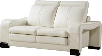 American Eagle Furniture Delaware Modern Faux Leather Living Room Loveseat With Wheeled Ottoman 2 Piece Ivory Furniture Decor