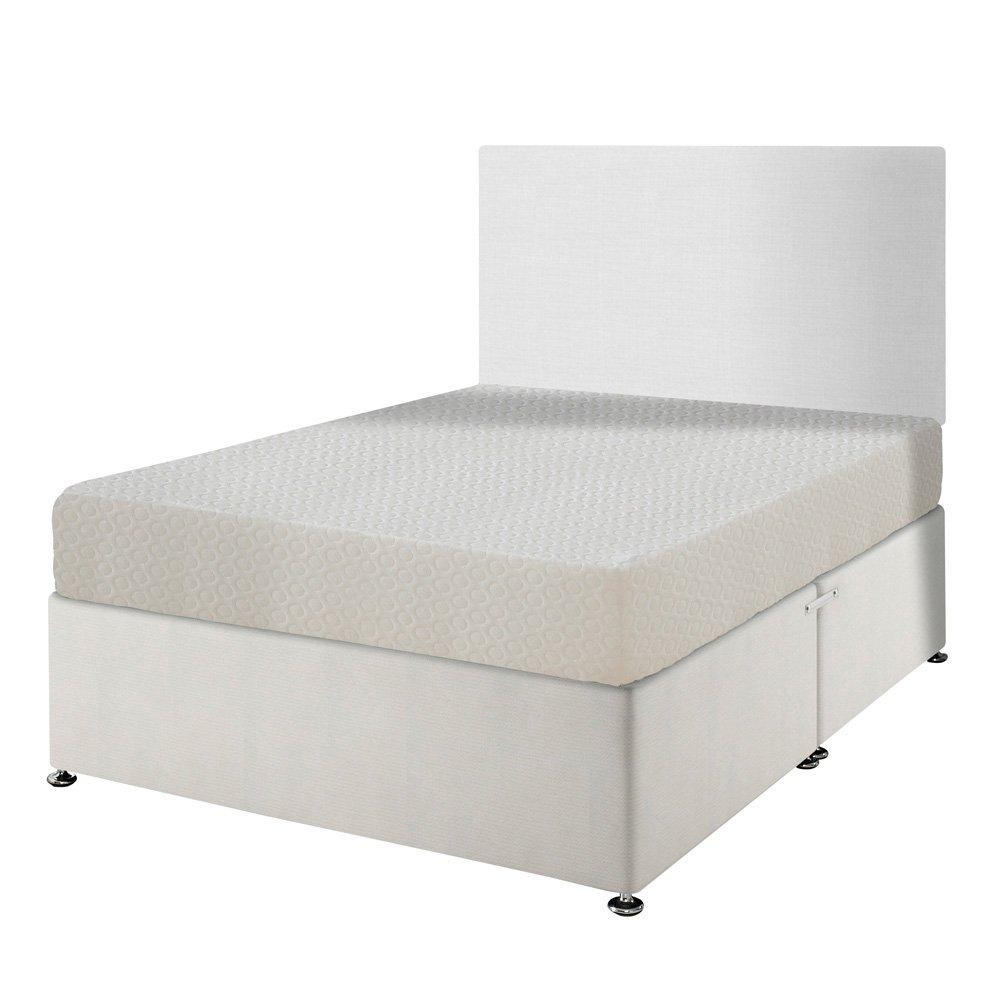 Happy Beds Memory 250orthopädischen Memory Foam Feste Matratze mit abnehmbarer Bezug mit Reißverschluss/Stoff Diwan Basis/verschiedene Schublade Optionen/Uni Kopfteil, Weiß, 180 x 200 cm