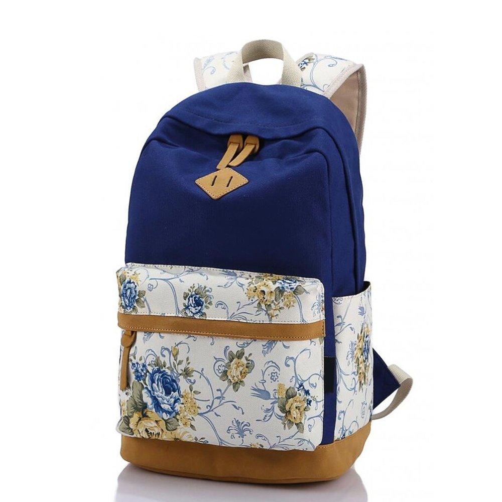 SymbolLife Girls Handbag shoulder bag backpack bag Rose Print SY-L8891-DB-ES