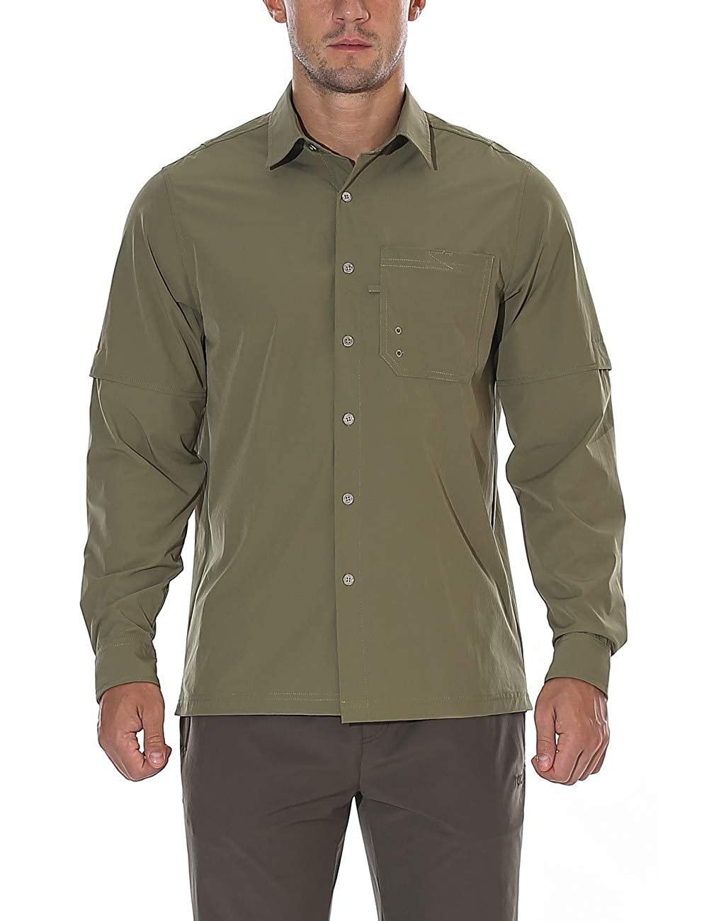 unitop Mens Hiking Shirt Roll-Up Long Sleeve Fishing Shirt