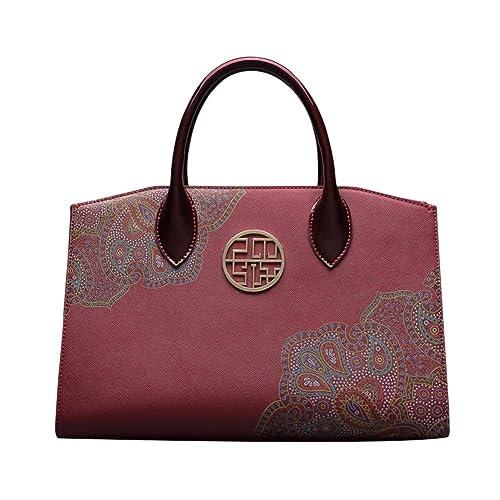 5e67d6e25bf4 Handbag for Womens Genuine Leather Tote Handbags Chinese Style Top Handle  Bag Retro Purse Satchel  Amazon.co.uk  Shoes   Bags