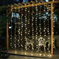 JOYOOO LED curtain light 3 3 m 304 lights droop 16 LED lamps for decoration of windows,Facade, terraces, bars, Christmas, Valentine's Day, wedding,and many more (Warm white)