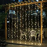 JOYOOO LED curtain light 33 m 304 lights droop 16 LED lamps for decoration of windows,Facade, terraces, bars, Christmas, Valentine's Day, wedding,and many more (Warm white)