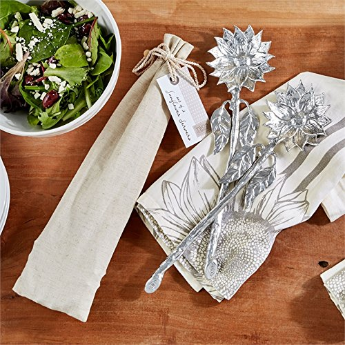 Two's Company Sunflower Set of 2 Metal Salad Servers Tongs in Gift Pouch