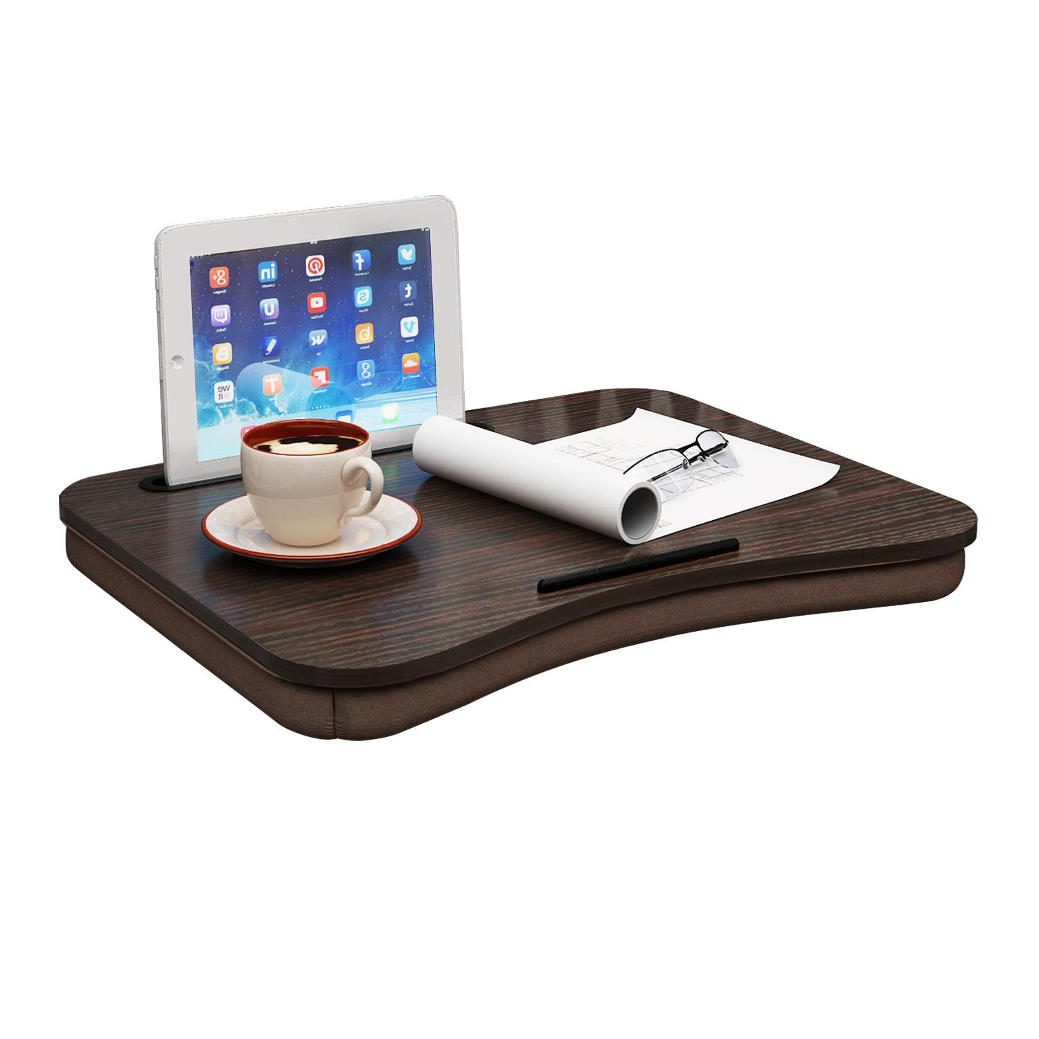 Jeroal Portable Lap Desk For Laptop Wood Lap Pillow Tray With Tablet Slot Fits Up To 15 Laptop And 9 7 Tablet