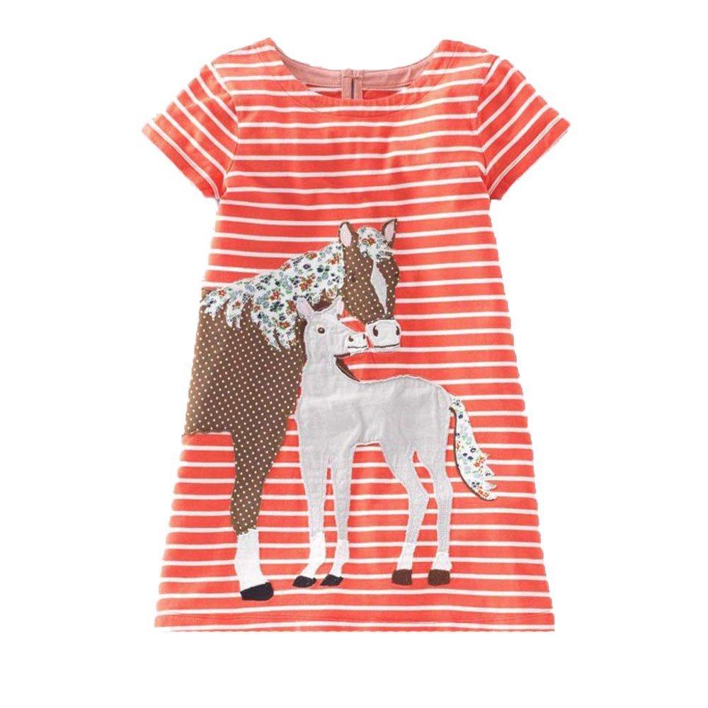 IsabelaKids Girls Cotton Long Sleeve Casual Cartoon Appliques Striped Jersey Dresses (2T, Orange Horse)