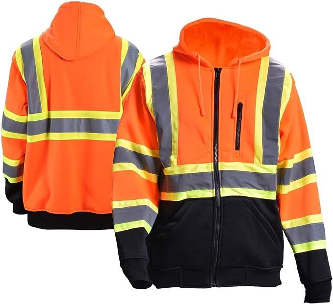 Black Bottom Orange, 5-XL Knit Lining New York Hi-Viz Workwear H8311 Mens ANSI Class 3 High Visibility Class 3 Sweatshirt Hooded Pullover