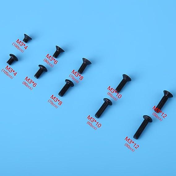 12,9 Stahllegierung Vollgewinde M4 x 6 mm Innensechskantschrauben Innensechskantschrauben 100 St/ück M4 x 12mm schwarz schwarz