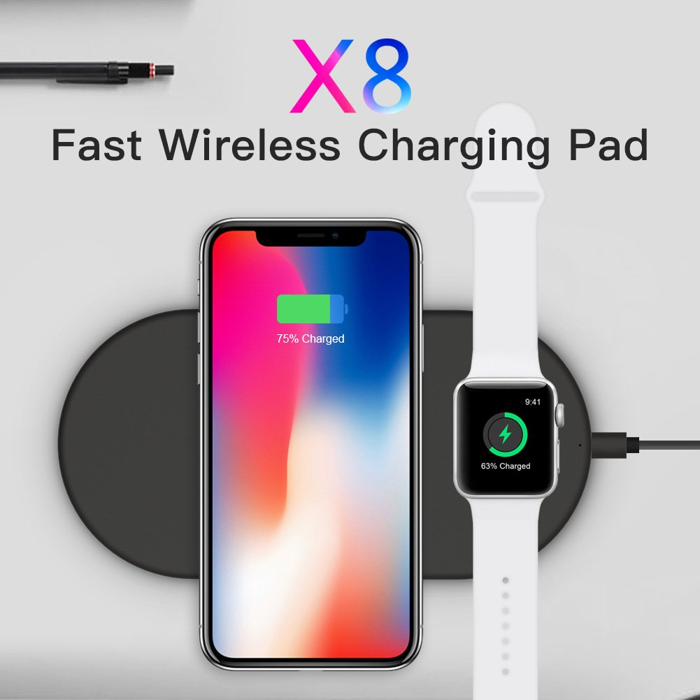 Funxim Fast Wireless Charging Pad Qi Standard for iPhone 8 iPhone 8 Plus iPhone X and Apple Watch Compatible with Any Qi Mobile Device (Black)