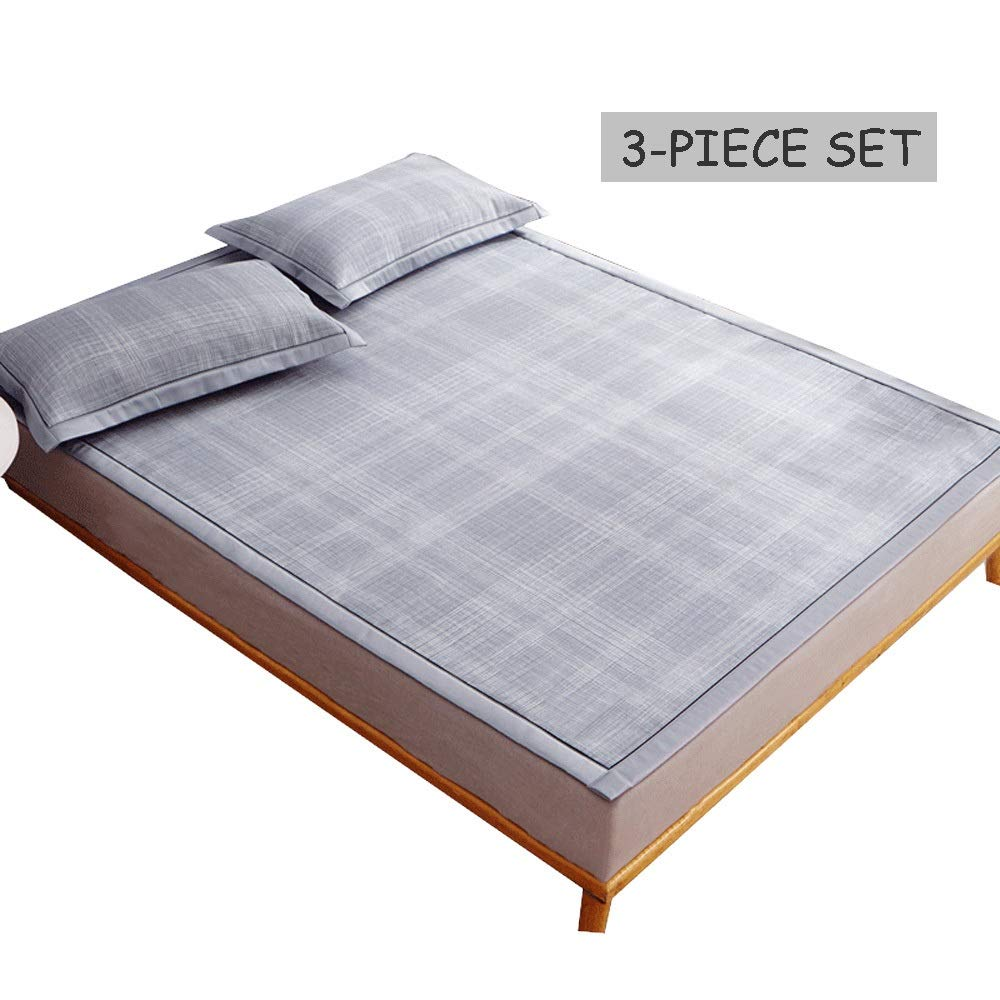 1.8x2m 70.9inx 78.7in Mat - Three-Piece Ice Silk Mat, Foldable Portable Rattan Mat, Mattress Cool Without Ice (Size   1.8x2m 70.9inx 78.7in)