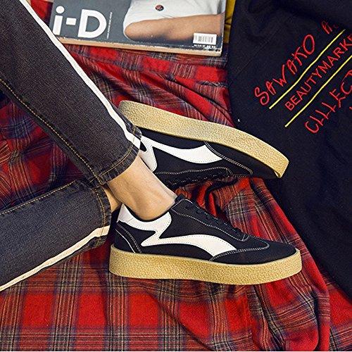 da in all'abrasione Mocassini Color Sneakers Top Nero sportive pelle 40 piatte canvas dalla PU Resistente Scarpe Low Nero suola in resistente Dimensione EU Sunny casual amp;Baby uomo R1p6wIW