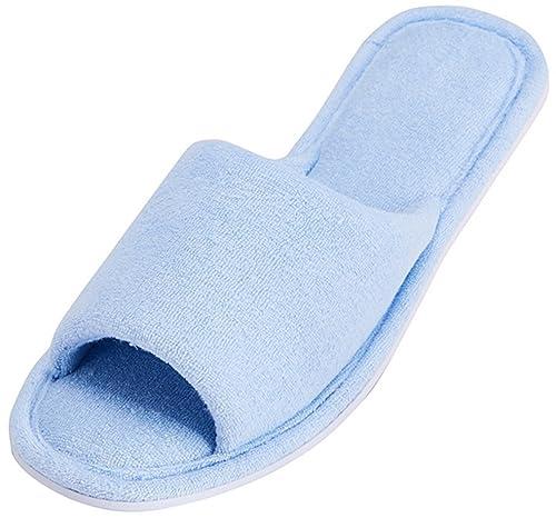 7e4a22c62545 MIXIN Women s Open Toe Terry Cloth Memory Foam Anti-Slip House Slippers  Navy Blue Size