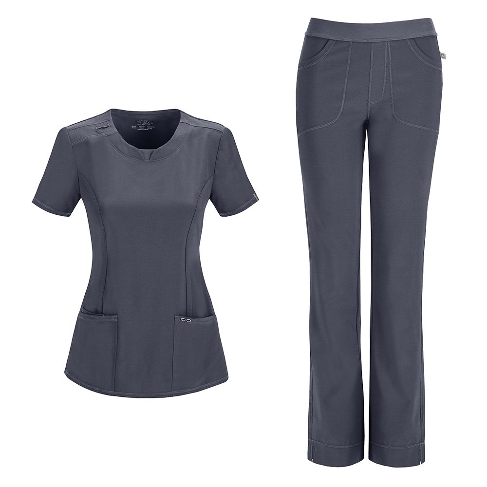 Cherokee Infinity Women's with Certainty Round Neck Top 2624A & Low Rise Pant 1124A Scrub Set (Antimicrobial) (Pewter - XXXX-Large/XXXX-Large)