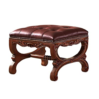 Yushesen Reposapiés Retro con Base de Madera de Caucho, Madera Maciza Tallada sofá Pedal Piano Taburete Banco de Zapatos 24.0x19.7x16.5in (Color : -, tamaño : -): Hogar