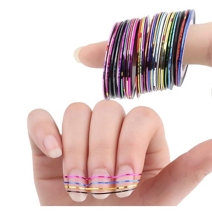 SIPLIV 500 piezas de uñas consejos cubierta completa uñas postizas 10 tamaños con 32 piezas de cinta adhesiva para salones de uñas y diy nail art, ...