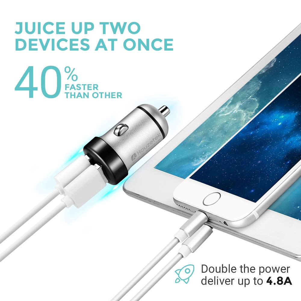 iPad Pro//Air 2//Mini Car Charger Efficient Charging Compatible with iPhone Xs//XR//X//8 Blue Samsung Galaxy Note9//Note8//S9 and More Houzetek 4.8A//24W Dual Ports Mini Car Charger Adapter