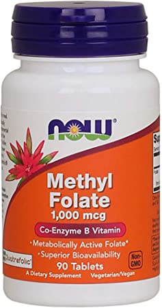 NOW Supplements, Methyl Folate 1,000 mcg, Metabolically Active Folate*, Co-Enzyme B Vitamin, 90 Tablets