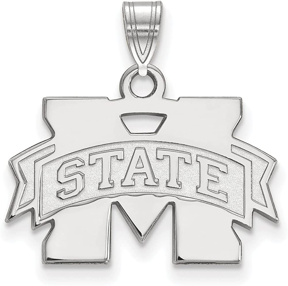 Solid 925 Sterling Silver Official Mississippi State University Small Pendant Charm 19mm x 22mm