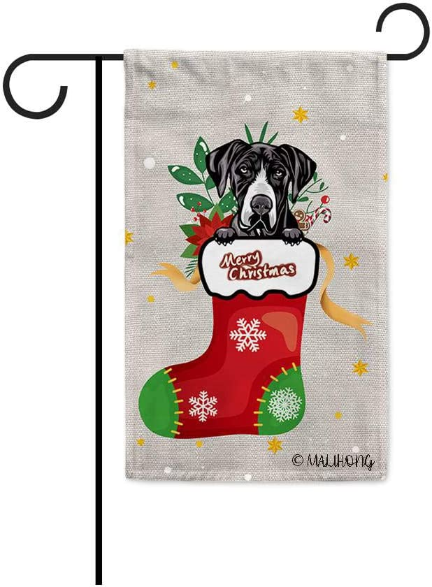 MALIHONG Merry Christmas Dog Garden Flag Cute Great Dane in Christmas Sock Cartoon Style Flag for Home Decor 12.5X18 Inch Printed Double Sided