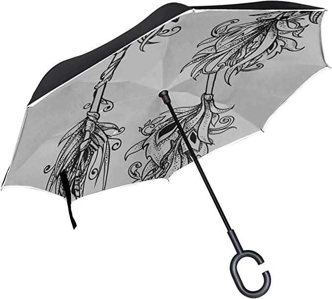 Double Layer Inverted Inverted Umbrella Is Light And Sturdy Ethnic Boho Pattern Tribal Art Reverse Umbrella And Windproof Umbrella Edge Night Reflect