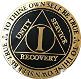 Recoverychip 1 Year AA Medallion Reflex Black Gold Plated Chip