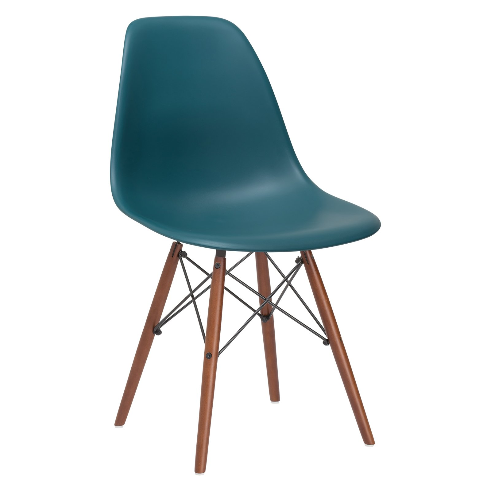 Poly and Bark Vortex Side Chair Walnut Legs, Teal