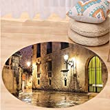 Kisscase Custom carpetGothic Decor Collection Gothic Ancient Stone Quarter of Barcelona Spain Renaissance Heritage Gothic Night Street Photo Bedroom Living Room Dorm Cream