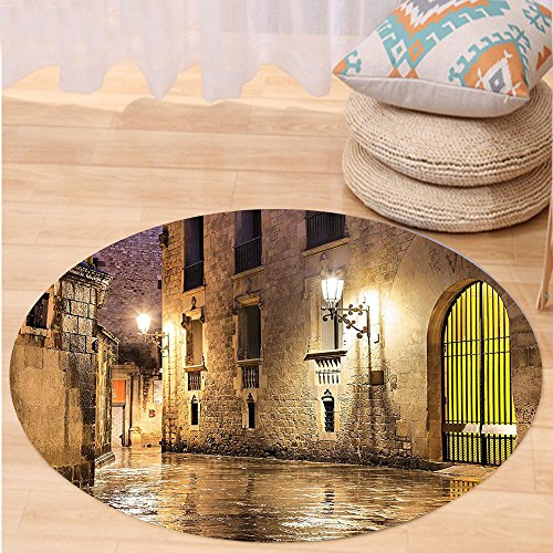 Kisscase Custom carpetGothic Decor Collection Gothic Ancient Stone Quarter of Barcelona Spain Renaissance Heritage Gothic Night Street Photo Bedroom Living Room Dorm Cream by kisscase