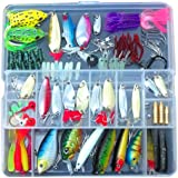 Fishing Lure Set Kit Lots With Free Tackle Box,LifeVC® Fishing Lures Baits Tackle Set For Freshwater Trout Bass Salmon-Include Vivid Spinner Baits,Topwater Frog Lures,Crankbaits Lures,Spoon Lures,and More