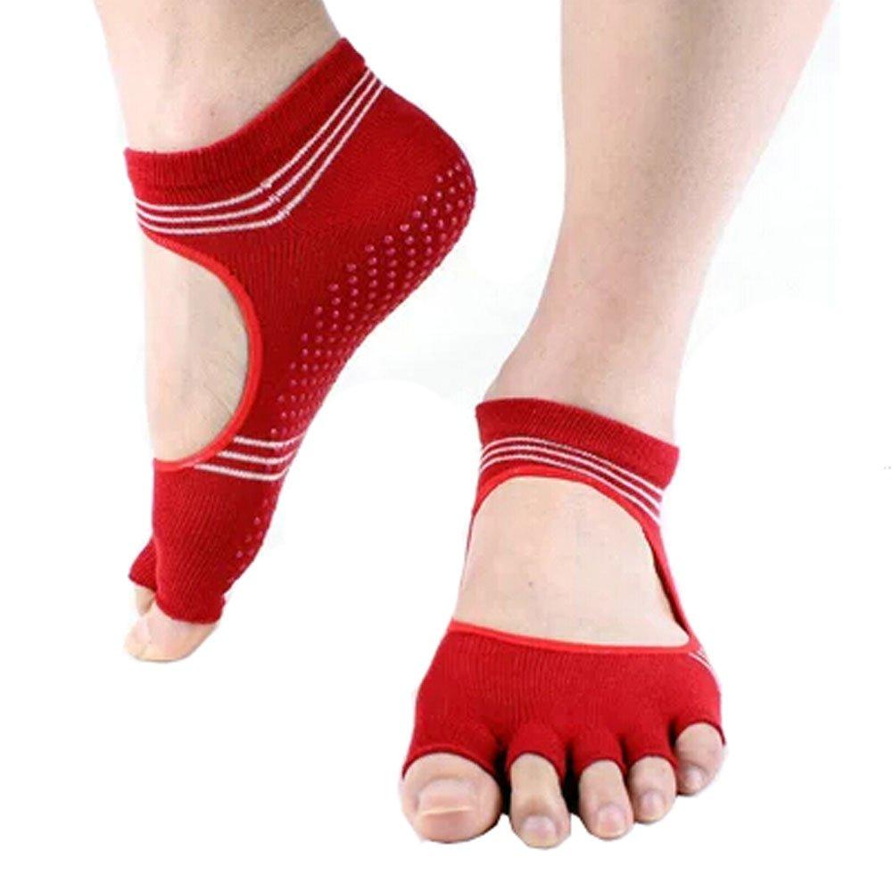 Women's Non Slip Half Toe Yoga Socks Cotton Toeless&Backless Pilates Socks,Red