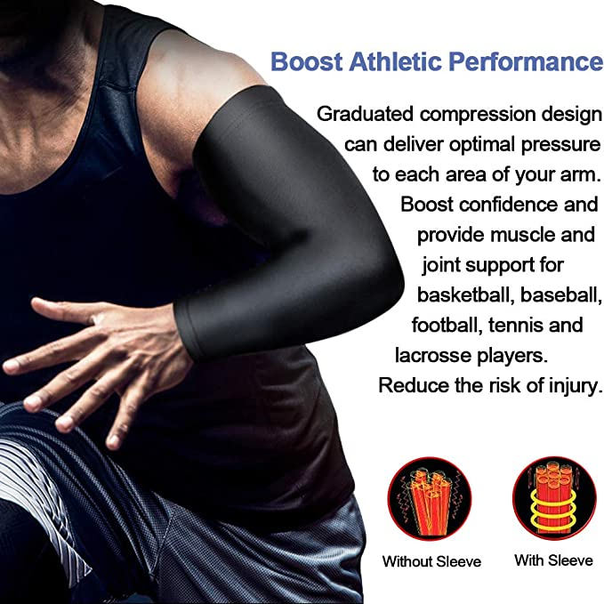 beister 1 Pair Athletic Sports Compression Arm Elbow Sleeves for Women Men Cycling Outdoors Sun UV Protection Cooling Arm Cover for Basketball Tattoo Cover Running