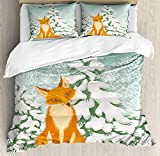 Fox Duvet Cover Set Queen Size by Ambesonne, Red Fox Sitting in Winter Forest Snow Covered Pine Trees Xmas Cartoon, Decorative 3 Piece Bedding Set with 2 Pillow Shams, Orange White Almond Green