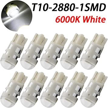10x Super Bright White 1 LED COB SMD T10 W5W Car Wedge Side Light Bulb Lamp 12V