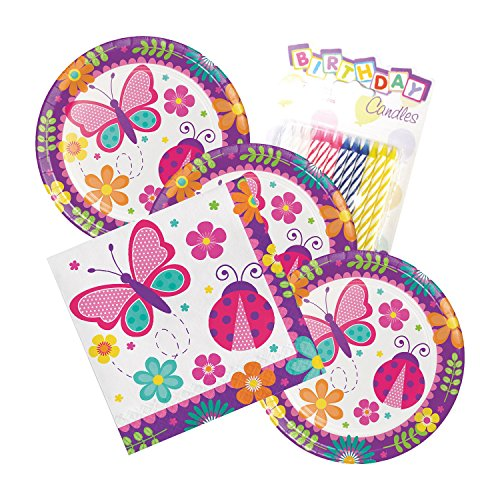 Butterfly Garden Party Theme Plates and Napkins Serves 16 With Birthday Candles