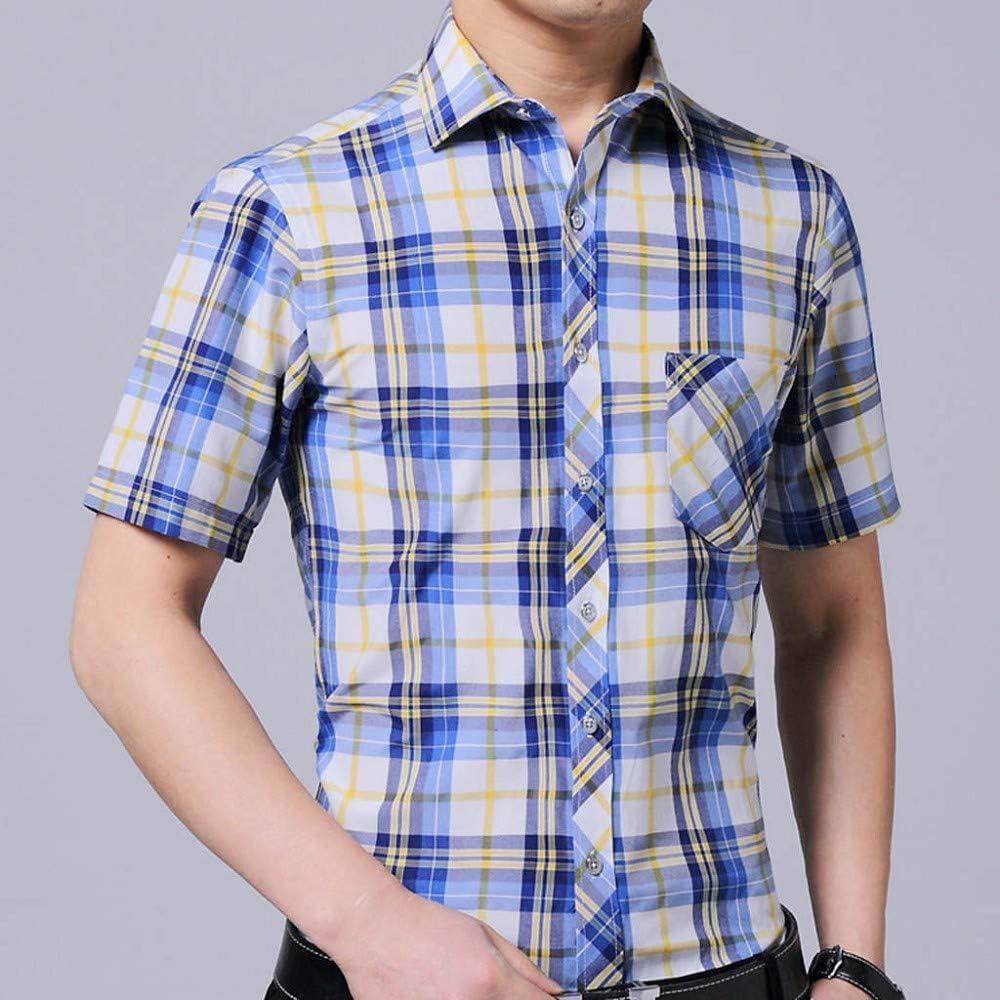 MMUJERY blusas hombre manga corta Ocio de negocios Camisa de