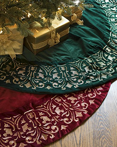 Balsam Hill Luxe Embroidered Velvet Tree Skirt, 60 inches, Wine by Balsam Hill (Image #1)