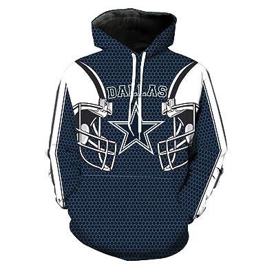 ZXTXGG Hombres Sudaderas con Capucha 3D Dallas Cowboys Uniforme del Equipo de fútbol Sudaderas con Capucha de impresión Digital Amantes Sudaderas con ...
