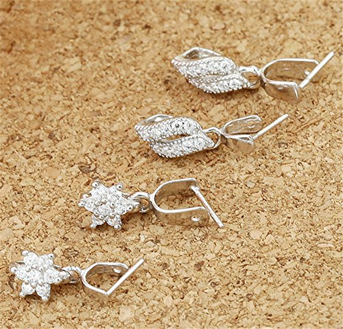 Luoyi Sterling Silver Ice Pick and Pinch Bails, with Rhinestone (C018Y) (A: 6mm)