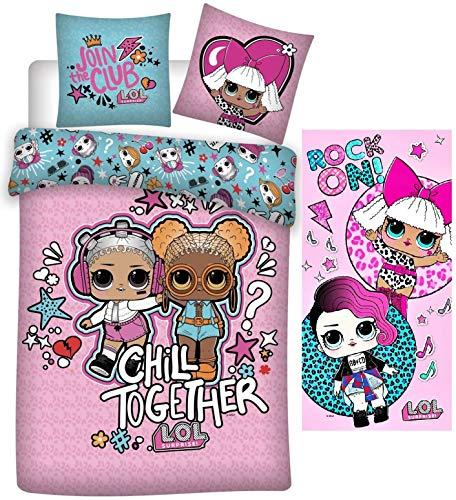 rainbowFUN.de LOL Surprise – Juego de cama infantil (135 x 200 x 80 cm, toalla de mano de 70 x 140 cm, algodón L.O.L…