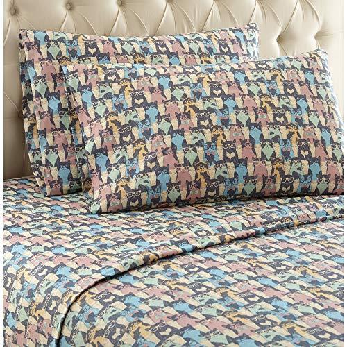 Micro Flannel Shavel Durable & Luxurious Printed Sheet Set Twin XL, Flat/Fitted Sheet 66x96/81x39x14; Pillowcase 21x32 - Kool Kats. -