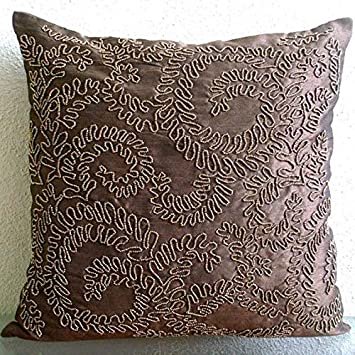 The HomeCentric Designer Brown Cushion Covers, Tropical Floral Pillow Cover, 12 x12 Pillow Covers Decorative, Art Silk Square Pillow Cases, Beaded Garden Rail Throw Pillows Cover – Brown Gold Ivy