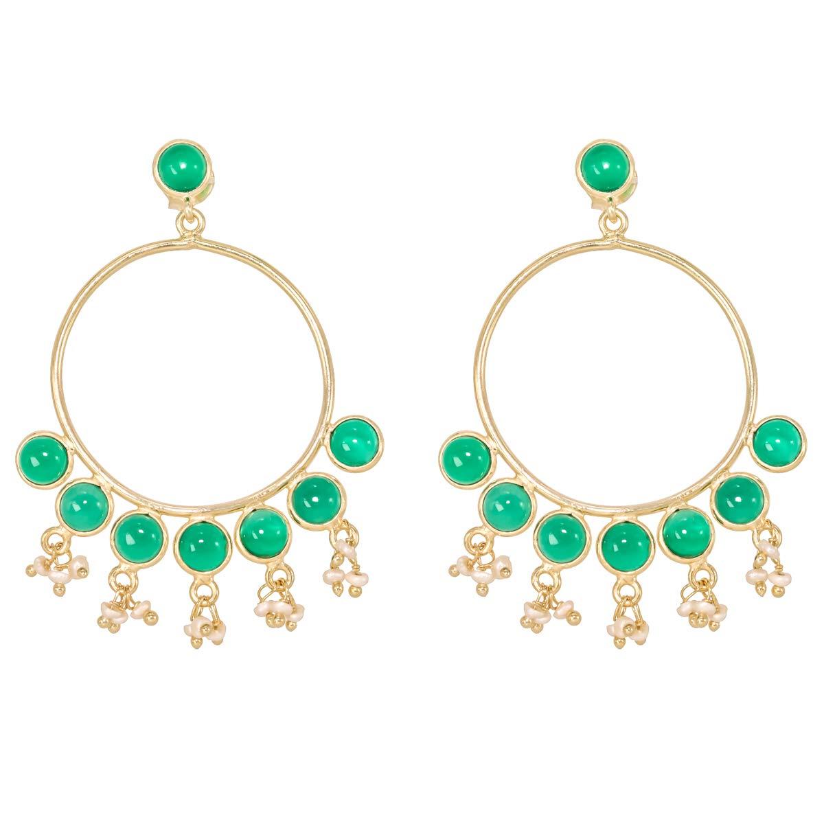 Green Onyx 18k Gold Plated 925 Sterling Silver Stud Screw Back Earrings