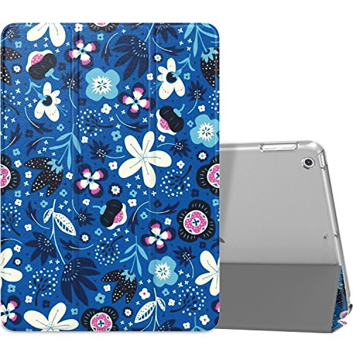 MoKo Case Fit 2018/2017 iPad 9.7 6th/5th Generation - Slim Lightweight Smart Shell Stand Cover with Translucent Frosted Back Protector Fit Apple iPad 9.7 Inch 2018/2017, Blue Flowers(Auto Wake/Sleep)