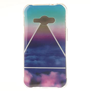 Guran® Silicona Funda Carcasa para Samsung Galaxy J1 Ace J110 Smartphone Case Bumper Shock TPU Cover-Nube de triángulo