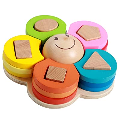 perfrom Wooden Column Blocks,Geometric Shape Stacking Sorting Toy, Early Educational Developmental Toy for Kids: Toys & Games