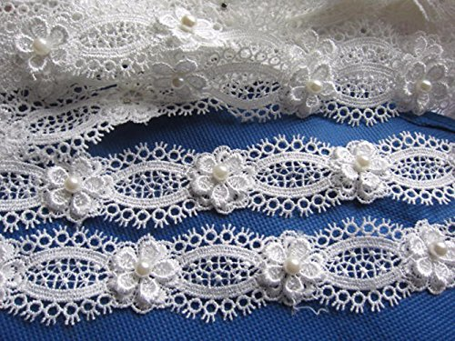Ribbon Wedding Craft - YYCRAFT Pack Of 2y Flower Pearl Lace Edge 1.25