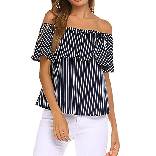 806d9a5975b Women's Sexy Tops 2019,Women's Off Shoulder Ruffles Striped Printed Casual  Blouse Loose Shirt Tops
